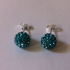 Shamballa Stud Earrings 8mm Light Blue pave Crystal Bead on Sterling Silver new
