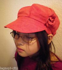 Designer-Mütze/Kappe für Mädchen in Velourlederoptik von Romano Italy rot