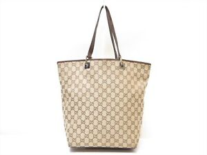 Authentic GUCCI GG Canvas Leather Tote Shoulder bag Beige Italy 18635645