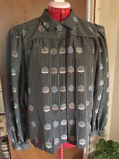 Vintage FENZI collar Shirt Blouse M/L Striped Retro Black Circles