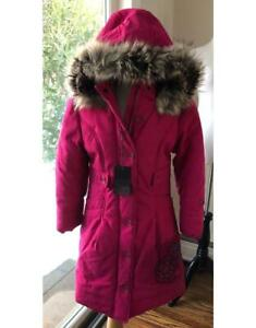 EUC Catimini Girl's Sz 8 Flower Embroidered Faux Fur Hooded Pink Coat