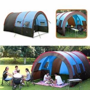 8-10 People Camping Tent Waterproof Portable Travel Tunnel Double Layer