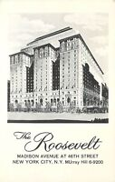 Roosevelt Madison Ave at 46th St New York NY MUrray Hill 6-9200 Postcard