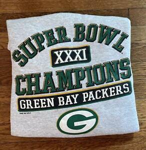 Green Bay Packers 1990s Super Bowl XXXI NFL Football Logo 7 Sweatshirt Large