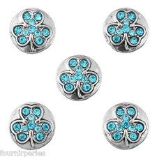 25 Mini Bouton Pression Strass Bleu de lac Trèfle à 4 feuilles Pr Collier 13mm
