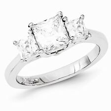STERLING SILVER 3-STONE PAST PRESENT FUTURE PRINCESS CUT CZ RING - SIZE 7