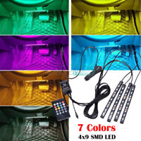 12V LED RGB 7 Colors LED Strip Lights Music Wireless Remote Control Car Interior