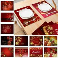 2PCS Place Mat Christmas Santa Snowman Dining Table Placemat Xmas Home Decor New