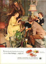 1951 vintage beverage AD for BEER U.S. Brewers Foundation Art by Gannam   013119