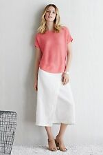 NWT Eileen Fisher Organic Linen Faux Wrap Front C/L Skirt Silver Grey $198 M
