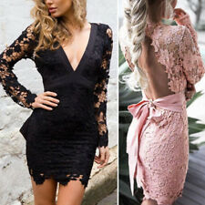 Lady Summer Long Sleeve Backless V-neck Lace-Up Evening Cocktail Party Dress Hot