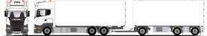 Tekno | 79702 Scania R6 Streamline Rigid + 3Axle Drawbar Reefer Kit 1:50 Scale