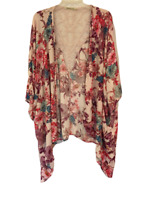 Liberty Love Pink Floral Kimono Cardigan Top Jacket with Lace Back Size 1XL