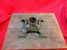 Cast Iron Art Deco 1920s Christmas Tree Stand with Heart-shaped bolts wood base