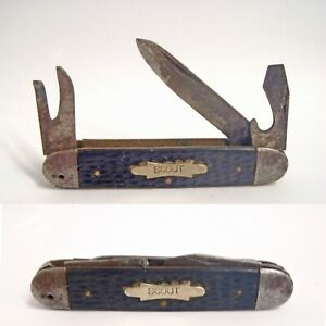 """Vintage 3-Blade Folding """"MADE IN USA"""" SCOUT Knife Snug, Snap, No Wobble"""