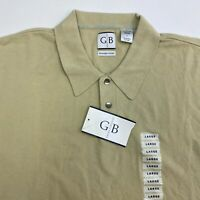 NWT Geoffrey Beene Polo Shirt Men's Large Short Sleeve Tan Polished Cotton