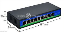 48V STANDARD 120W 9 Port 8 PoE Injector Power Over Ethernet Switch 1/2+3/6-