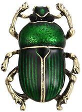 Green Enameled Scarab Beetle Vintage Gold Pin Brooch D-873
