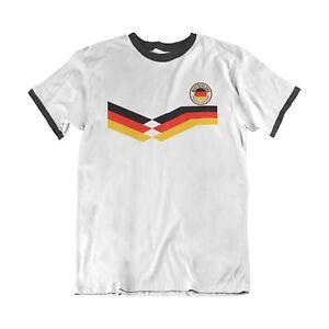 Mens GERMANY Style Retro Strip Football 2021 2020 T-Shirt German Euro Shipping