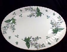"Royal Worcester Valencia bone china 15"" oval platter white flowers gold rim"