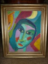 """Mysthisches Head Picture """"Alexei Jawlensky of?"""" Oil on paper in frame"""