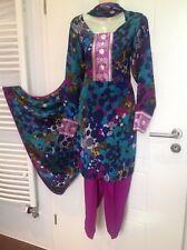 Bollywood Indian Sari Saree Kleid Shalwar Qameez Kurta 3 Teile Edel Gr. M 36 38