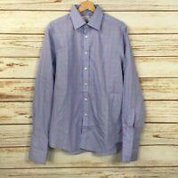 Charles Tyrwhitt Blue Pink Plaid Non Iron Dress Shirt Slim Fit Men's 16/35