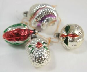Set of 4 Silver Dimpled Christmas Ornaments - Red / Green
