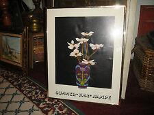 Vintage Elizabeth Hampe Signed Summer 1982 Exhibit Poster Print-Floral Bouquet