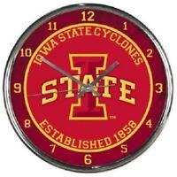 NCAA - Iowa State Cyclones - New Chrome Round Wall Clock  12 Inches Diameter