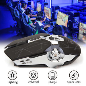 Wireless USB Optical Mice Gaming Mouse 7 Button LED Backlit Rechargeable For PC