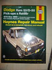 DODGE RAM 50 D-50 PLYMOUTH ARROW RAIDER 2WD 4WD HAYNES MANUAL PETROL 1979>1993