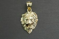 "Real 10K Solid Yellow Gold 0.9"" Diamond Cut Polished Lion Head Charm Pendant."