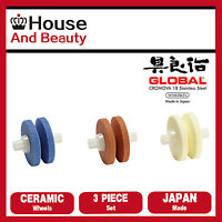 Global Replacement set of 3 Ceramic Wheels for MinoSharp Sharpener 550 Series