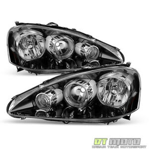 Black 2005-2006 Acura RSX Headlights Headlamps Pair Left+Right Replacement 05-06