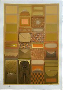 Nino Memo serigrafia Oltre le Luci di Bisanzio 70x50 firmata variante gialla