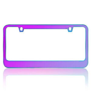 Metal Neo Polish Shiny Iridescent License Plate Frame Universal Fit