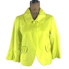 J.Crew 8 Med 100% Linen Jacket Blazer Neon Yellow Peter Pan Collar Swing Work LN
