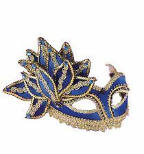 MARDI GRAS BLUE GOLD VENETIAN HALF MASK COSTUME DRESS MASQUERADE PARTY FM65631