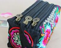 Retro Boho Ethnic Women's Embroidered Wristlet Clutch Bag Purse Wallet Handbag