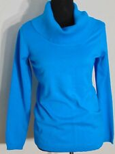 Dress Barn Women's Bright Blue, Lightweight Ribbed Cowl Neck Slim Sweater Size S