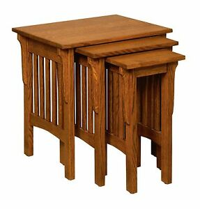 Amish Nesting TV Snack Tables Mission Craftsman Solid Wood Set of (3)