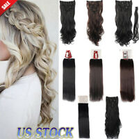 Real as remy human hair Long Clip in Hair Extensions Full Cover Wavy Straight eu