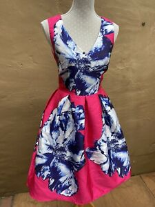 Ladies Summer Dress Size Med. LUCY WANG pink Floral Dress. Wedding Prom Party