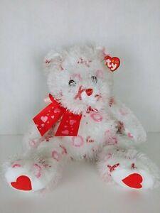 "Ty Punkies Plush Beanbag Teddy Bear 13"" Bitty Kiss White/Red 2005"