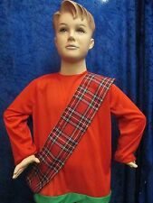 Kids 4ft Red Tartan Sash Burns Night Fancy Dress Scottish Plaid Royal Stewart