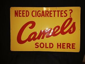 Need Cigarettes? Camels Sold Here Advertisement Sign No 648 Yellow w Red Letters