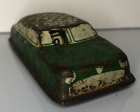 Vintage Pressed Tin Green & White Checkered Cab TAXI Toy Car Fare in Window