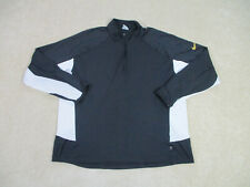 Nike Shirt Adult Large Black Yellow Swoosh Dri Fit Long Sleeve Athletic Mens