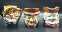 """3 Vintage Toby Style Mugs Made In Japan 2-2.5"""" in height All 3 Marked Japan"""